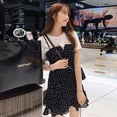 套裝 0073#S-XXL夏裝新款時尚很仙的套裝女韓版顯瘦吊帶裙1F151-A韓依紡