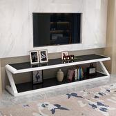 電視櫃電視柜現代簡約小戶型客廳 電視柜茶幾組合鋼化玻璃歐式電視機柜【巴黎世家】