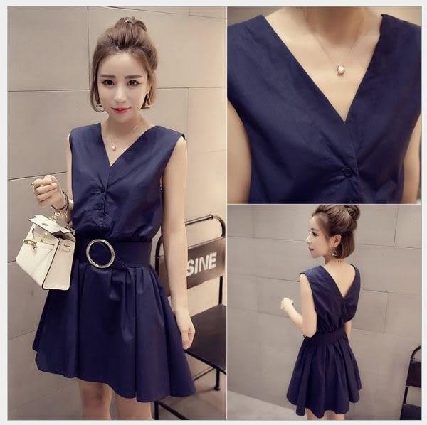 現貨 - 夏季新款韓版時尚V領無袖收腰顯瘦氣質連衣裙