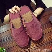 包頭皮拖鞋居家秋冬季男女情侶室內家用木地板防水防滑厚底棉拖鞋 深藏blue