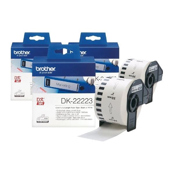【三捲組】Brother DK-22223 連續標籤帶 50mm 白底黑字 耐久型紙質 適用全系列之QL標籤機