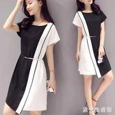 夏季新款大碼中長款氣質短袖OL洋裝A字修身顯瘦端莊大氣上班族時尚連身裙LXY3231 歐爸生活館