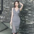 無袖洋裝小禮服 2021新款夏季女裝韓版性感V領無袖修身拼接雪紡魚尾中長款連身裙