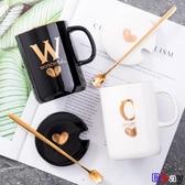 E家人 馬克杯 禮物創意陶瓷杯個性指紋姓氏字母馬克杯咖啡杯子帶蓋勺情侶水杯茶杯