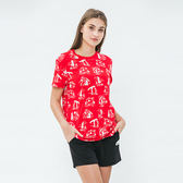 女裝-Roots 露營滿版印花短袖T恤 - 紅色