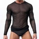 [XL-]▽男情趣服▽內衣褲 韓版修身透明透氣圓領2016新款休閒 男士網紗長袖T恤 B104