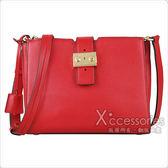 MK MICHAEL KORS BOND經典金屬釦LOGO皮革手拿夾層母子側背包(中/亮紅)