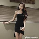 晚禮服 一字領露肩宴會晚禮服韓版單肩主持人小禮服修身顯瘦黑色洋裝女 雙十二全館免運