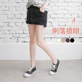 OB嚴選《BA2057-》排釦設計拼接褲型彈力褲裙‧4色--適 XS~L