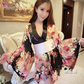 日系和服性感日式印花和服睡裙角色扮演制服誘惑套裝女騷情趣內衣大尺碼睡衣(1件免運)