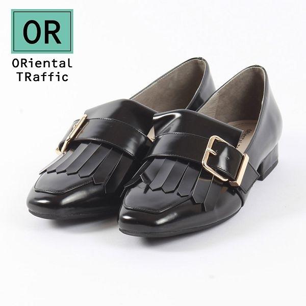 【ORiental TRaffic】時髦方釦流蘇樂福鞋 - 率性黑