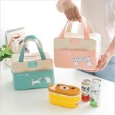 學生情侶帆布便當包 手提加厚鋁箔保溫袋午餐包便當包保溫飯盒袋