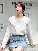 娃娃領上衣 2021早秋新款韓版洋氣娃娃領襯衫女設計感小眾百搭長袖寬鬆上衣潮 小天使