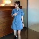 牛仔洋裝 polo領牛仔裙女夏季顯瘦法式 鹽系少女復古短袖連身裙-Ballet朵朵
