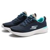 SKECHERS 慢跑鞋 GO RUN 400V2 深藍 網布 藍綠邊 白底 瑜珈墊 女(布魯克林) 128000NVBL