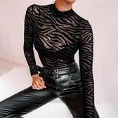 長袖連體衣 ins性感透視網紗植絨長袖連體上衣女秋冬高領緊身黑色薄款打底T恤 快速出貨