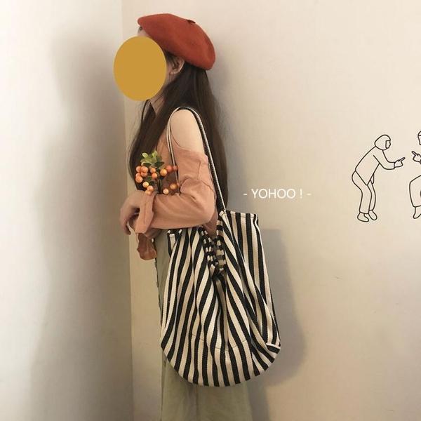條紋控 韓系chic簡約百搭文藝大容量單肩帆布包購物袋女 檸檬衣舍