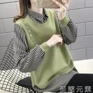 襯衫領假兩件女上衣針織衫春季新款韓版寬鬆百搭過年外穿毛衣 雙十二全館免運