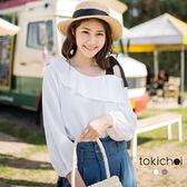 東京著衣-甜美斜肩綁帶荷葉領上衣-S.M(180334)