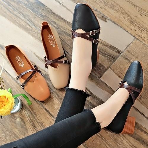 低跟鞋.韓版知性瑪莉珍交叉裝飾粗跟包鞋.白鳥麗子