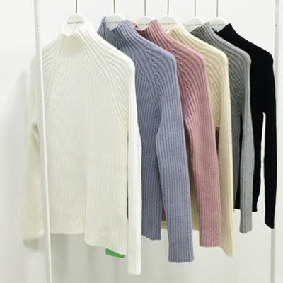 針織上衣韓國素色保暖絨毛修身高領針織上衣毛衣女裝【03B1323】