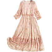 真絲洋裝(兩件套)-燈籠袖繡花鏤空桑蠶絲女連身裙73yd12【時尚巴黎】