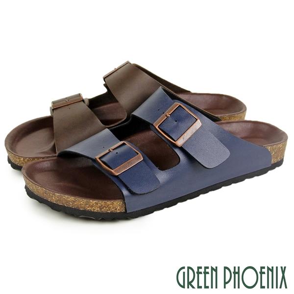 T12-14001 男款拖鞋 經典雙排扣平底拖鞋【GREEN PHOENIX】