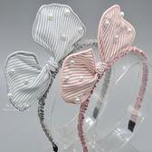 氣質珍珠條紋蝴蝶結髮箍 氣質 珍珠 條紋 蝴蝶結 髮箍