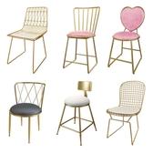 梳妝椅 北歐鐵藝餐椅靠背休閒簡約現代臥室化妝【免運直出】