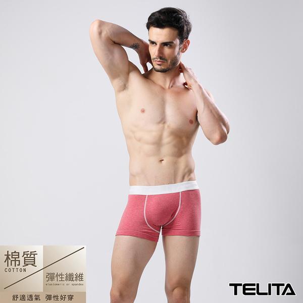 男內褲【TELITA】亞麻色系運動平口褲 四角褲 亞麻紅