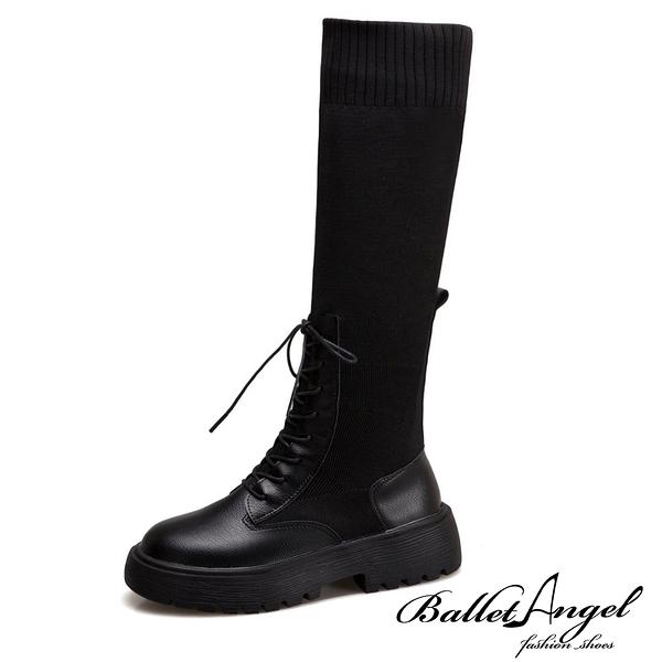 長靴 完美纖腿異材拼接長筒靴(黑)*BalletAngel【18-2008bk】【現貨】