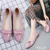 瓢鞋春坡跟淺口小皮鞋女水鑚尖頭百搭四季鞋低跟工作單鞋 東京衣秀