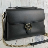 BRAND楓月 GUCCI 古馳 510306 黑色皮革兩用包 淡金釦 鍊包 荔枝紋 手提包 肩背包 側背包 斜背包
