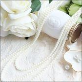 L012-S時尚百搭三鍊式珍珠項鍊長鍊~