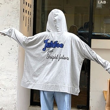 EASON SHOP(GU7523)實拍後背英文字母印花雙口袋純色連帽T恤外套女上衣服薄款防曬衫開衫空調衫灰色