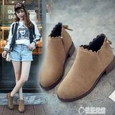 韓版新款英倫及踝靴百搭女靴平底短靴女鞋秋冬季馬丁粗跟裸靴 草莓妞妞