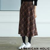 ❖ Winter ❖ 優雅格紋喇叭膝下裙 - AMERICAN HOLIC