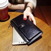 禮物 新款2020時尚長款錢包女真皮搭扣復古超薄牛皮手機錢夾軟皮手拿包 阿卡娜