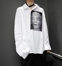 FINDSENSE Z1 韓國 時尚 潮 男 寬鬆大尺碼 胸前個性頭像印花 長袖