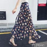 一片式半身裙女夏中長款不規則海邊沙灘泰國度假雪紡繫帶碎花裹裙 多色小屋