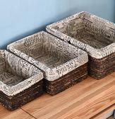 三件套收納筐藤編儲物盒雜物零食桌面整理大號臟衣籃手工布藝收納盒WY