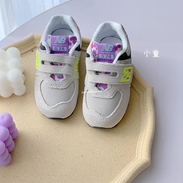 《7+1童鞋》New Balance IV574WO1 繽紛彩點 574系列 運動鞋 9614 灰色