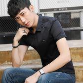 短袖素面襯衫 韓版修身純色百搭休閒男裝襯衣《印象精品》t378