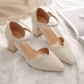 高跟鞋粗跟單鞋女夏季新款優雅水鉆一字帶扣涼鞋百搭尖頭淺口高跟鞋 小天使