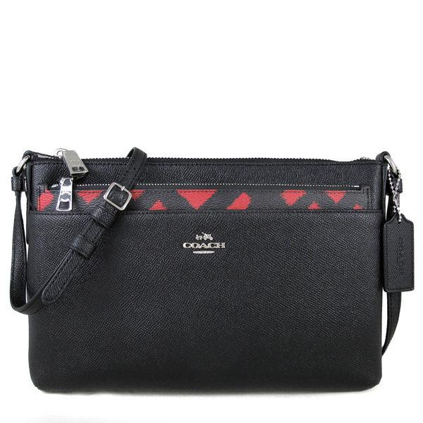 COACH 馬車Logo全皮革斜背包 防刮子母包 附拉鍊袋(黑紅雙色)-22251