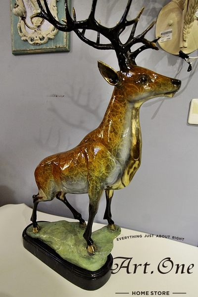ART ONE 居家設計館AB05575銅雕-雄鹿