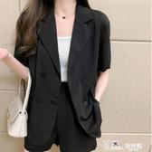 西装外套 雪紡小西裝防曬外套女垂感夏季韓版寬鬆大碼紫色短袖薄款西服上衣