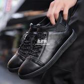 秋冬季新款皮鞋男士休閒鞋黑色皮面男鞋懶人套腳平底防滑板鞋   易家樂
