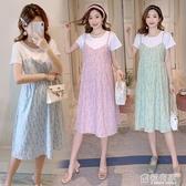 孕婦裝夏天裙子2020新款時尚假兩件套裝上衣潮辣媽個性夏裝洋裝 聖誕免運