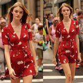 2019夏新款歐美街拍風收腰系帶復古碎花印花紅色連身裙短裙茶歇裙【新品上新】